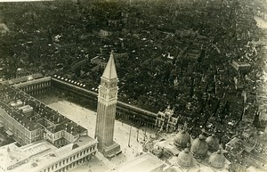 Italy Venezia Venice Piazza San Marco WWI Old Aerial View Photo 1918