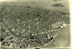 Italy Venezia Venice Piazza San Marco Canal WWI Old Aerial View Photo 1918
