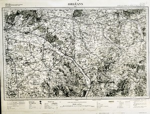 France Ordnance Survey Map Area of Orleans First World War Old Photo 1918
