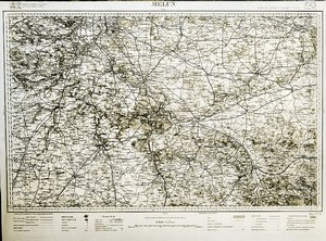 France Ordnance Survey Map Area of Melun First World War Old Photo 1918
