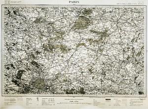 France Ordnance Survey Map Area of Paris First World War Old Photo 1918