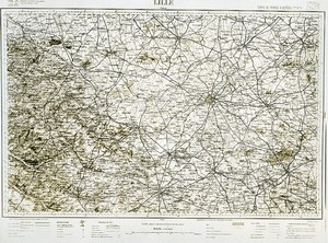 France Ordnance Survey Map Area of Lille First World War Old Photo 1918