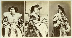 16th century European French Women Fashion Costumes Old Photo Calavas 1890