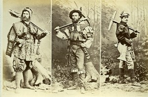 16th century European French Men Fashion Costumes Archer Old Photo Calavas 1890