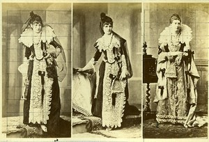 16th century European French Women Fashion Costumes Old Photo Calavas 1890