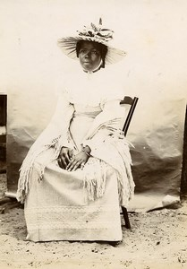 Madagascar Tamatave Woman portrait Fashion Hat Old Photo Ramahandry 1910'