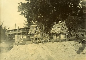 Madagascar Village Indigene Maisons Miniatures de Farafangana Ancienne Photo Ramahandry 1910'
