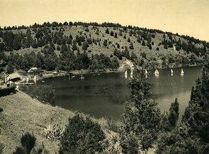 Vue poétique de Madagascar Tananarive Lac Anosy? Voiliers Ancienne Photo 1937
