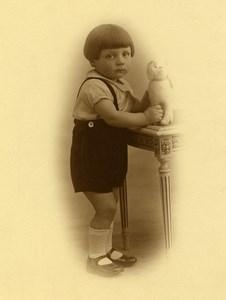 France Petit Chien en Peluche Jeu d'Enfants Jouet Ancienne Photo 1920