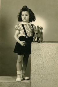France Fillette et Chien en Peluche Jeu d'Enfants Jouet Ancienne Photo 1920