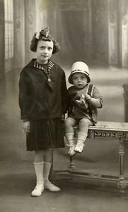 France Lille Garconnet et son Petit Chien Jouet Jeu d'Enfants Ancienne Photo Dupuis 1920