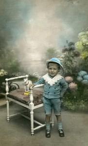 France Roubaix Jouet Petit Agneau Mouton Jeu d'Enfants Ancienne Photo Colorisee 1920