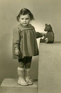 France Fillette et son Ours en Peluche Jouet Jeu d'Enfants Ancienne Photo 1920