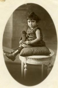 France Paris Fillette et son Ours en Peluche Jouet Jeu d'Enfants Ancienne Photo 1920