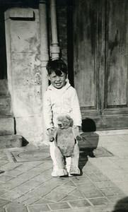 France Garconnet et son Ours en Peluche Jeu d'Enfants Ancienne Photo Amateur 1930