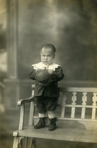 France Tourcoing Garconnet et sa Balle Jeu d'Enfants Ancienne Photo Huisman 1920