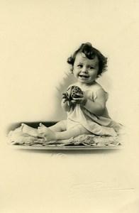 France Roubaix Bebe et Balle Jouet Jeu d'Enfants Ancienne Photo Planque 1920