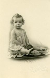 France Roubaix Bebe Balle Jouet Jeu d'Enfants Ancienne Photo Planque 1920