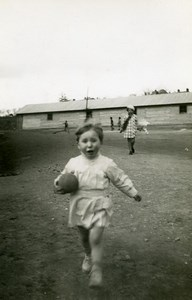 France Jeu d'Enfants la Balle Ancienne Photo Amateur 1920
