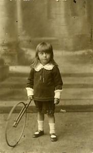 France Garconnet Cerceau Roue à Tirer Jeu d'Enfants Ancienne Photo 1920