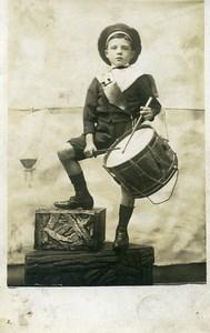France Jeune Garcon Joueur de Tambour Jeu d'Enfants Ancienne Photo 1920