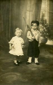France Petit Garcon Costume Militaire Jeu d'Enfants Ancienne Photo 1920