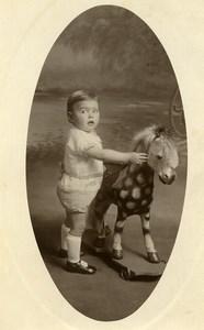 France Lille Cheval de Bois Jeu d'Enfants Jouet Ancienne Photo 1920