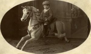 Belgique Menin Cheval de Bois Jeu d'Enfants Ancienne Photo Wallecan Vouters 1920