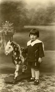 France Marquette Cheval de Bois Jeu d'Enfants Ancienne Photo Grysole 1920