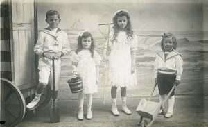 Belgique Blankenberghe Jouets de Plage Jeu d'Enfants Ancienne Photo 1920