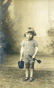 France Jeu de Plage Pelle et Seau a Sable Jeu d'Enfants Ancienne Photo 1920