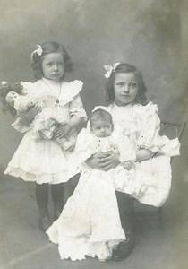 France Roubaix Bebe et Poupée Jeu d'Enfants Ancienne Photo Planque 1920