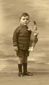 France Garconnet et Poupée Jeu d'Enfants Ancienne Photo 1920