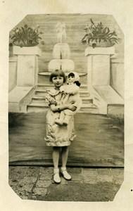France Fillette et sa grande Poupée Jeu d'Enfants Ancienne Photo 1920