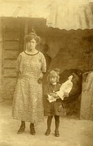 France Mere, Fille et sa Poupée Jeu d'Enfants Ancienne Photo Amateur 1920