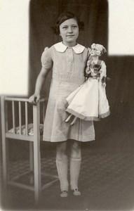 France Fillette et sa Poupée Belle Robe Jeu d'Enfants Ancienne Photo 1920