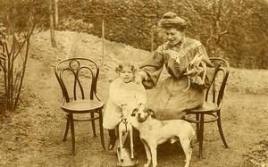 France Girl on Wooden Horse Children Game Dog Old Amateur Photo 1920