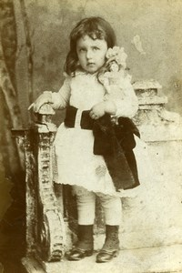 France Amiens Girl & her Doll Children Game Old Cabinet Photo Arnoux 1900