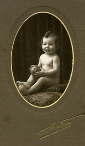 France Paris Smiling Toddler holding Ball Children Game Old Photo Endrey 1900