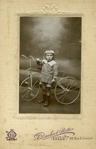 France Lille Boy & his Tricycle Children Game Old Photo Duchat 1900