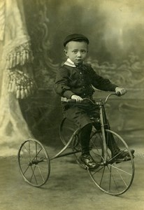 France Tourcoing Boy on Tricycle Children Game Old Cabinet Photo Baert 1900