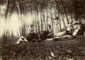 France Villers Dimanche à la Campagne Pique-Nique dans les Bois Ancienne Photo 1900