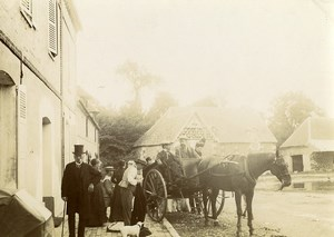 France Villers Sunday in the Countryside Horse Carriage Old Photo 1900