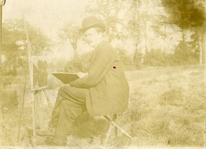 France Lille Region Painter & Easel Old Photo 1900