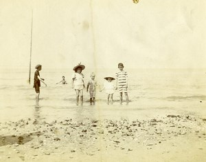 Northern France Sea Bathing Children Group Old Photo 1900
