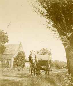 France Countryside Around Boulogne sur Mer Horse Cart Old Photo 1900