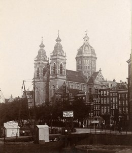 Netherlands Amsterdam Monument Church Old Photo 1900