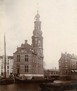 Netherlands Amsterdam? Monument Church Canal Old Photo 1900