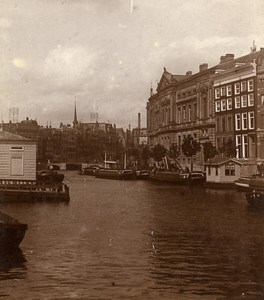 Netherlands Amsterdam Canal Boats Old Photo 1900