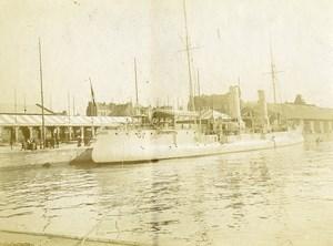 France Calais Port Bateaux Navire Militaire Marine Ancienne Photo 1900